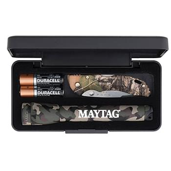 AA Camo Mini Mag-Lite with Buck Bantam BBW Camo Lockback Knife